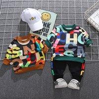 Çocuk Sonbahar Takım Elbise Uzun Kollu Moda Giysileri 1-4 Yaşında Bebek Erkek Batı Tarzı Sweatershirt + Pantolon Seti Çocuklar Kıyafetler 677 X2