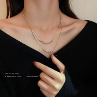Chains 2021 Fashion Real Gold Electroplated Pearl Choker Necklace Cute Double Layer Chain Pendant For Women Jewelry Girl Gift