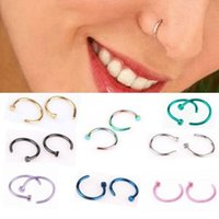 8MM Trendy Nose Rings Body Piercing Jewelry Fashion Stainless Steel Open Hoop Earring Studs Fake NoseRings Non PiercingRing Gift