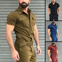 Tuta Uomo Casual Solid Solid Joggers Streetwear Shortsleeve Fashion Straight Tops + Pantaloni uomo Pagliaccetti Cargo tuta pantaloni sportivi 05sy #