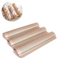Формы для выпечки 3-слот Non-Stick Golden Baguette Tray Boaf Flush Французский хлеб Pan Sake Tools