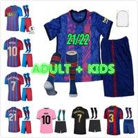 Erwachsene Kinder Kit Barcelona Fussball Jersey 21 22 Ansu Fati Barca Camisetas de Football Hemd 2021 2022 Messi GRIEZMANN F.de Jong Countinho Dest Trikots