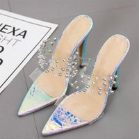Fashion top quality Women's High Heels Sandal lady Slippers Sexy Transparent PVC Rivets Point-toe