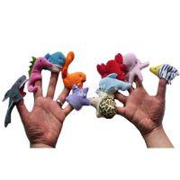 Dibujos animados lindos Animales del océano, títere de dedo Educación temprana Toy de peluche, niño niño interactivo, cuente los accesorios de la historia, regalos de cumpleaños de Navidad, 2-1