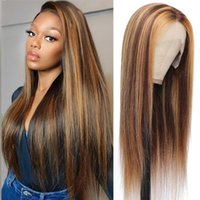 Lace Wigs Mayfair Highlight Wig Human Hair Straight White Transparent Brown Blonde 4X1 T Part Brazilian Non-Remy