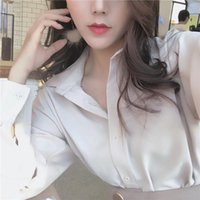 Women's Blouses & Shirts Women Casual Long Sleeve Solid Tops Office Lady Turn-down Collar Ladies Button Kimono Chiffon Blusas Mujer
