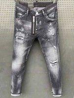 Erkek Sıkıntı Yırtık Skinny Jeans Tasarımcı Slim Fit Denim Yıkılan Denim Hip Hop Pantolon Erkekler Için Kaliteli