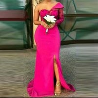 Fuchsia Mermaid Bridesmaid Dresses Long One Shoulder Long Sleeves Lace Wedding Party Dress Side Split Maid of The Honir Gowns