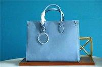 M45718 Summer Blue OntheGo Bolsas De Bolsas De Bolsas De Couro Casuais Sacos De Couro Casuais Mulheres Handbags Bolsas Bolsa de Compras Com Charme Metis M45717 mm bolsa