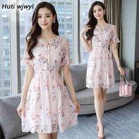 Huti Wjwyl Sommer Blumendruck Süße Boho Sommerkleid Elegante Frauen Club Midi Kleider Party Strand Rosa Mini Kleid Vestidos 210528