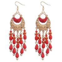 Dangle Chandelier Womens Earrings Luxury Designer Jewelry Ethnic Style Female European and American Elegant Handmade Water Drop Tassel Bohemian Crescent