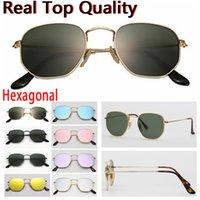 designer sunglasses hexagonal flat glass lenses men women male female sunglasses with brown or black leather case,all retailing accessories!
