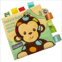نمط الحيوان القرد / البومة / الكلب الوليد الطفل اللعب تعلم التعليمية أطفال القماش كتب لطيف الرضع الطفل النسيج كتاب الأزلاج لعبة 1262 Y2