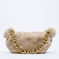 Evening Bags Vintage Chain Furry Women Shoulder Luxury Faux Fur Crossbody Messenger Bag Small Purse 2021 Designer Soft Plush Handbag