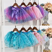 20 Colors Fashion Baby Kids tutu Dress Girls Princess Stars Glitter Skirt Children Chiffon Sequins Party Dance frocks Ballet Skirts Z4465