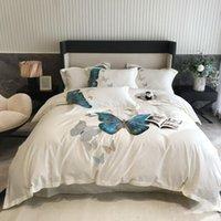 4 unids algodón mariposa bordado doble cama juego de cama kingQueen talla edredón cubierta lecho colchas pillowcase conjuntos