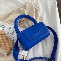 Evening Bags Mini PU Leather Top Handle Crossbody With Short For Women 2021 Summer Fashion Trends Purses And Handbags Blue Green