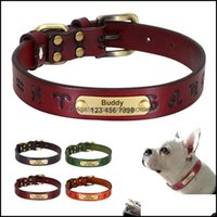 Leashes Supplies Home & Gardendurable Customized Personalized Pet Leather Id Tag Collars Adjustable Small Medium Large Dog Collar Engraving