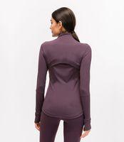 L-78 Осень зима Новая молния куртка быстрый наряд йога одежда с длинным рукавом пальца дырки тренировка бегущая куртка женская поросяла тонкий фитнес пальто