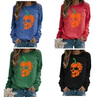 S-3XL Womens Hollowen Pullover Cartoon Hoodies Rundhals Kürbis Ghost Skelette Sweat Shirt Pullover Oversize Lose Sport Casual Tops Tshirt Outfit Top G89S5G1