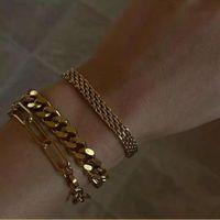 Artilady 2021Miami Luxury Gold Plated Charm Cuff Bangle Bracelet Cuban Link Bracelet Bangle Set Women Jewelry