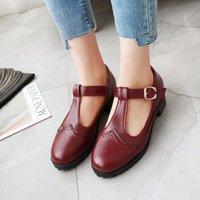 Dress Shoes US4-11 Womens Retor Brogue T-strap Lolita Mary Janes Chunky Block Mid Heel Oxfords Pumps Student Vintage 4Colors Plus Size