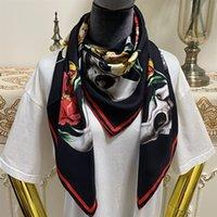 Damen Quadrat Schal Schals Gute Qualität 100% Twill Seidenmaterial Schwarz Farbe Pint Buchstaben Flowre Muster Größe 110cm- 110cm