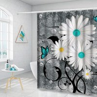 Shower Curtains Floral Butterfly Curtain White Daisy For Bathroom Farmhouse Rustic With 12 Hooks