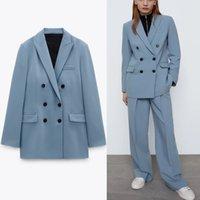 Blazer Za Blue Zweireiher Frühling Blazer Frauen Langarm Büro Dame Mantel Blazers Frau Chic Klappen Taschen Elegante Tops