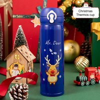 Water Bottles Portable Multi Layer Thickening Vacuum Bottle Smooth Edge Cup Bright Color Cartoon Printed Christmas