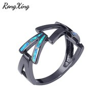 Wedding Rings RongXing Cute V Design Blue Fire Opal For Women Men Black Gold Filled Jewelry Vintage Fashion Bands Ring RB0970