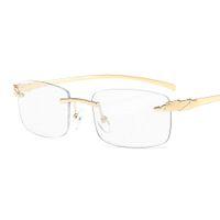 Vazrobe بدون شفة الذهب النظارات إطارات الذكور النساء أزياء نظارات للرجال نظارات فرملس ليوبارد العلامة التجارية مصمم JXP1