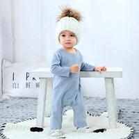 Jumpsuits Solid Color Cotton Clothes Set For 3-36 Months Born Baby Boy Girl Spring Autumn Winter Warm Infant Jumpsuit Pajamas Romper