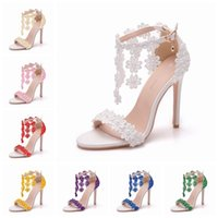 Sandals Female ankle sandals Queen crystal, various colors, lace flowers, pearl, free, six inches, high heels, wedding shoes K89U