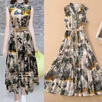 European and American high- quality catwalk dress cotton prin...