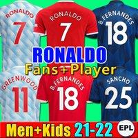 RONALDO Camisas de futebol Manchester 2021 2022 UNITED CAVANI UTD VAN DE BEEK B. FERNANDES RASHFORD camisa de futebol 21 22 homem + crianças kit HUMANRACE quarto