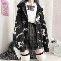 Deeptown Готическая толстовка женская черная молния на молнии мода мода осень зима одежда женские толстовки корейский с длинным рукавом эмо пуловер