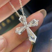 2021 Handmade Lab Diamond Cross Pendant 925 Sterling Silver Party Wedding Pendants Necklace For Women men moissanite Jewelry