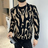 Men's Sweaters Zebra Pattern Sweater For Autumn Long Sleeve Round Neck Knitted Korean Casual Social Street Wear Pullover Homme