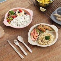 3 pcs / conjunto de colher infantil conjunto de trigo palha e adição de prato de prato café da manhã criativo bebê garfo tableware bandeja bebê 1851 v2