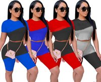 Women panelled Tracksuits casual Sweatsuits shorts Two piece sets summer clothing sports outfits t-shirts+short pants slim jogger suit 4930