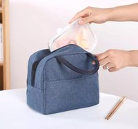 Outdoor Bags Portable Insulated Lunch Bag Solid Picnic For Students Travel Lunchbox
