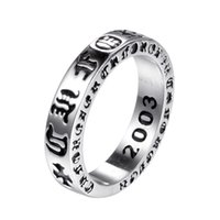 925 Sterling Silver American Europe Finger Rings Jewelry 2020 Hand-Made Designer Crosses Antique silver Hip Hop Band Ring for Men