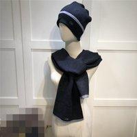 Moda versátil chapéu casual lenço conjunto homens mulheres letra clássica cachecos de inverno impresso esmalte