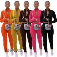 2021 Sonbahar ve Kış kadın Kalın Eşofman İki Adet Takım Seti Kadın Katı Renk Standı Yaka Uzun Kollu Fermuar + Pantolon Spor Koşu Setleri Ile Uzun Kollu Tops