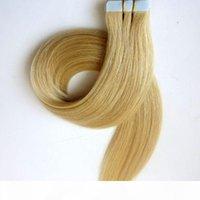 50g 20pcs 테이프 헤어 익스텐션 접착제 피부 weft 18 20 22 24inch # 60 백금 금발 브라질 인도 레미 인간의 머리카락 조화