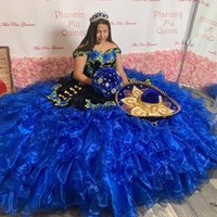 Modern Black Velvet Royal Blue Patterned Flowers 2022 Quinceanera Dresses Mexican XV Off shoulder Ball Gown with Sleeves Plus size Sweet 15 16 Charra Prom Party Dress