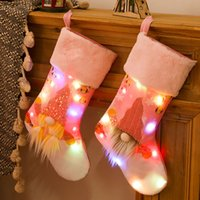 Светодиодные световые рождественские чулки подарка сумка елки кулон украшения украшения орнамент носки конфеты сумка домашняя вечеринка украшения HH21-471