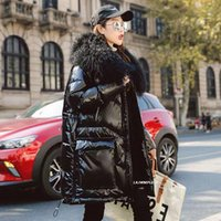 Women's Down & Parkas 2021 Winter Jacket Women 90% White Duck Coat Patent Leather Glossy Outwear Real Lamb Fur Collar Thick Y192