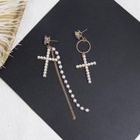 Dangle & Chandelier Korean Square Rhinestone Asymmetry Full Pearl Cross Long Tassel Chain Drop Earrings Fashion Round Circle Women Jewelry E